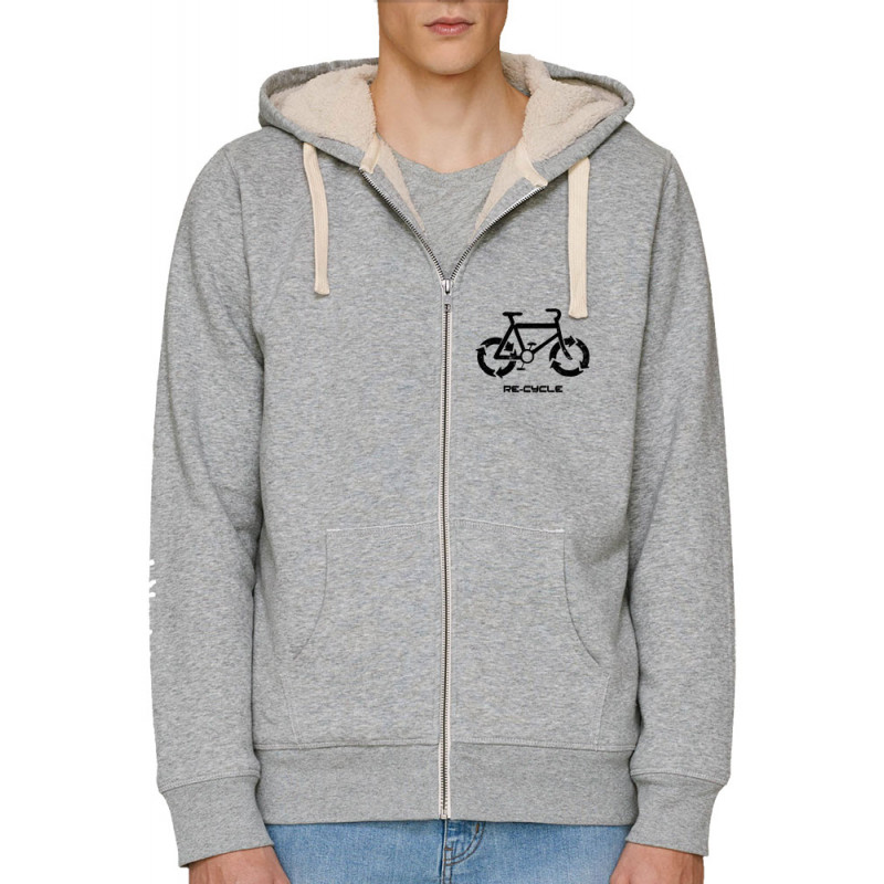Sweat homme à capuche zippé fourré coton bio Re Cycle