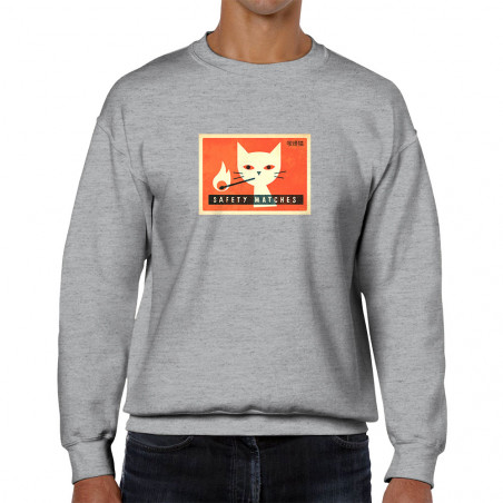 Sweat homme col rond Cat...