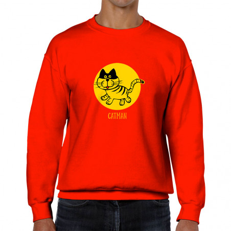 Sweat homme col rond Catman