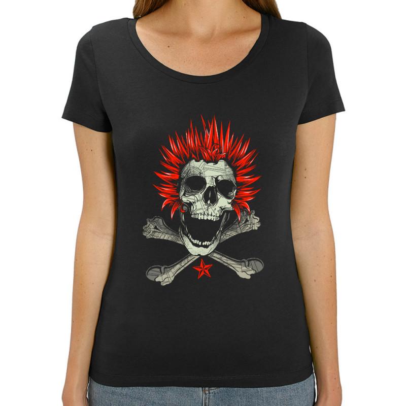 Femme Coton Skull Punk Tee Shirt Bio 2 WH29IYED