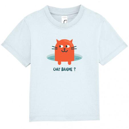 "Tee-shirt bébé ""Chat baigne ?"""