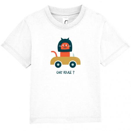 """Tee-shirt bébé """"Chat roule ?"""""""