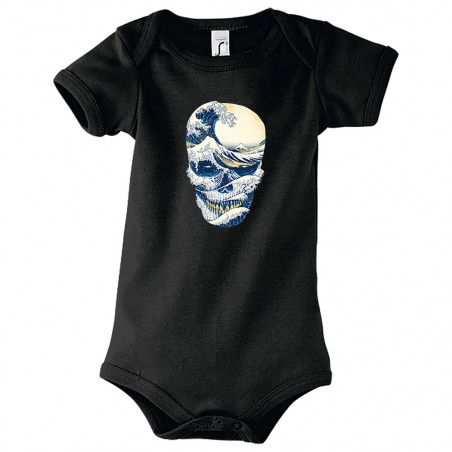 "Body bébé ""Hokusai Wave Skull"""