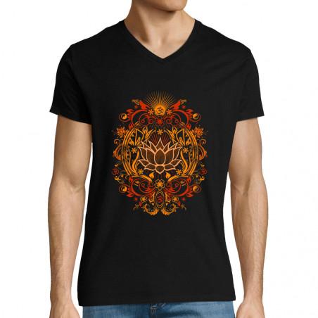 "T-shirt homme col V ""Lotus..."