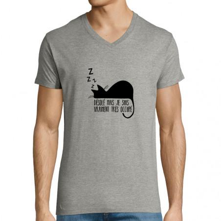 """T-shirt homme col V """"Désolé..."""