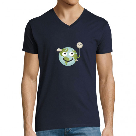 "T-shirt homme col V ""Earth"""