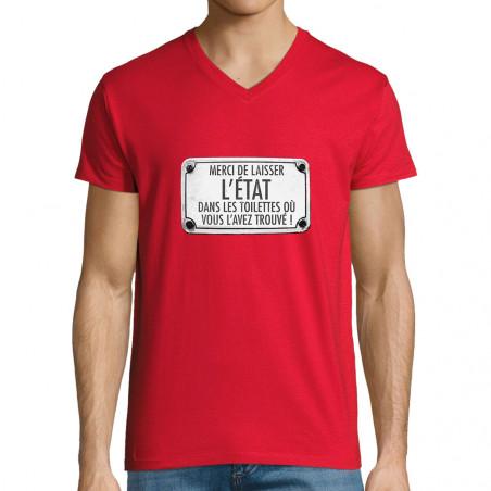 "T-shirt homme col V ""Merci..."