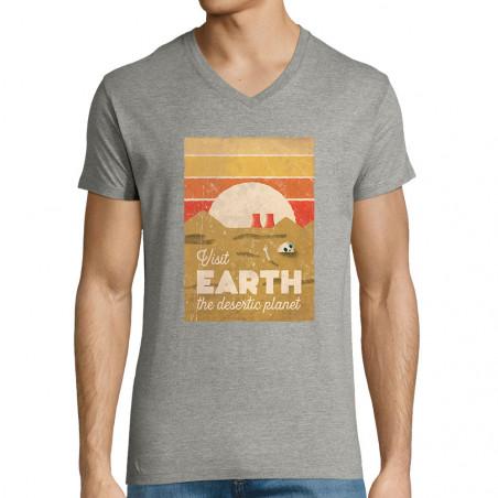 """T-shirt homme col V """"Visit..."""
