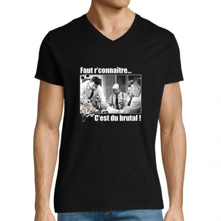 """T-shirt homme col V """"Faut..."""