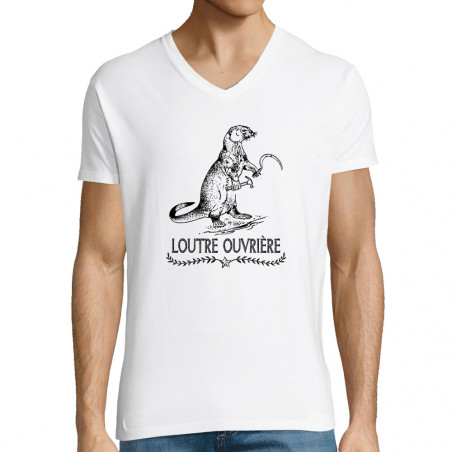 "T-shirt homme col V ""Loutre..."