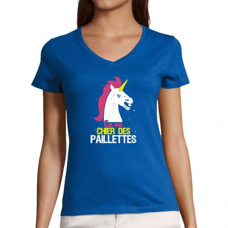 """T-shirt femme col V """"Ca va..."""