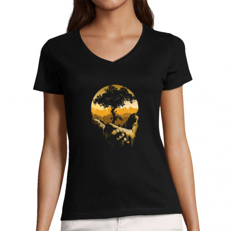 "T-shirt femme col V ""Aide..."