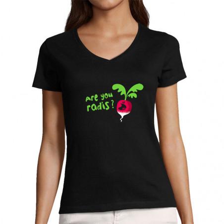 "T-shirt femme col V ""Are..."