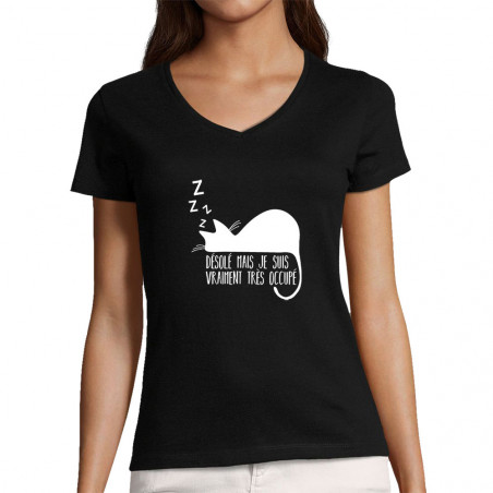 """T-shirt femme col V """"Désolé..."""