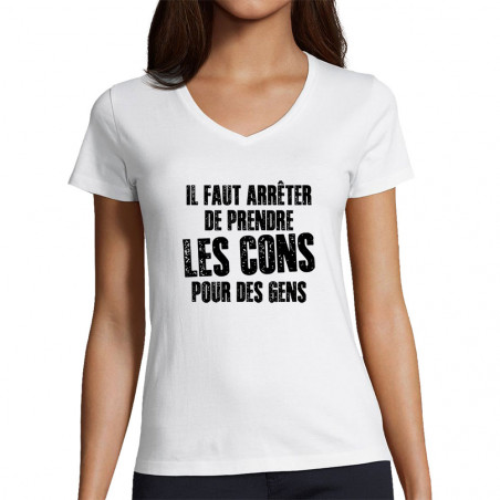"T-shirt femme col V ""Il..."