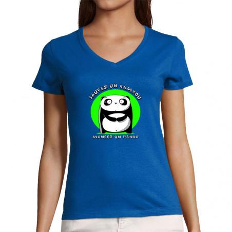 """T-shirt femme col V """"Sauvez..."""