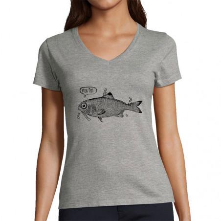 """T-shirt femme col V """"M'en..."""