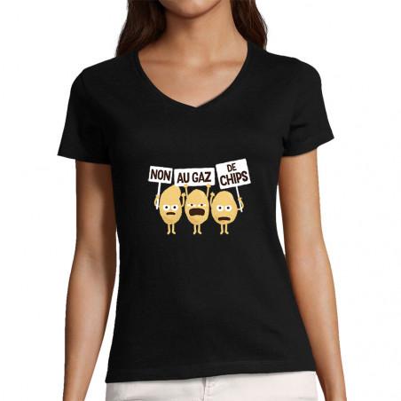 """T-shirt femme col V """"Non au..."""