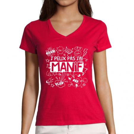 """T-shirt femme col V """"J'peux..."""