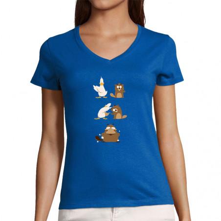 """T-shirt femme col V """"Fusion"""""""