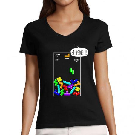 """T-shirt femme col V """"Tetris..."""