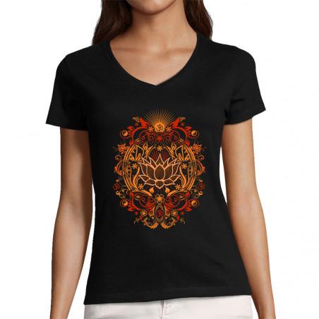 "T-shirt femme col V ""Lotus..."