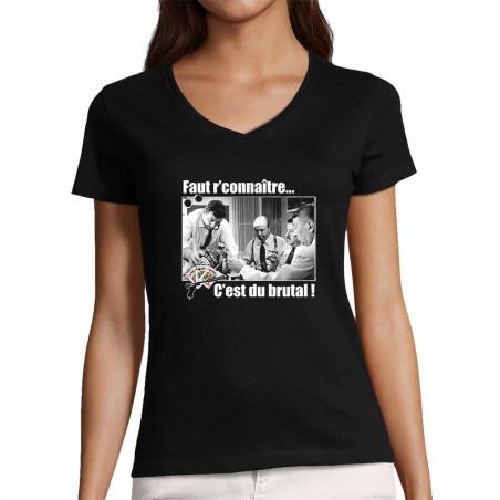 "T-shirt femme col V ""Faut..."