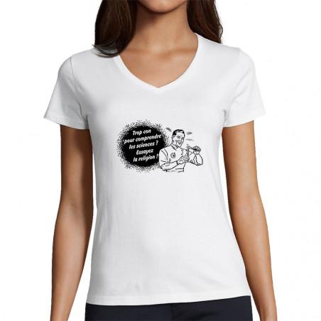 """T-shirt femme col V """"Trop..."""