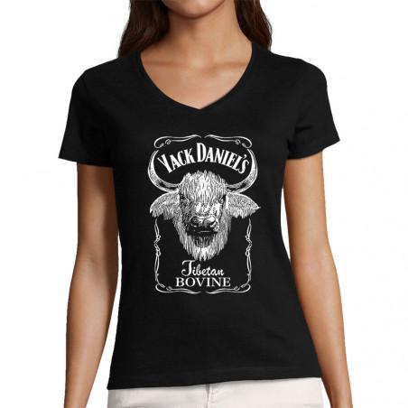"""T-shirt femme col V """"Yack..."""