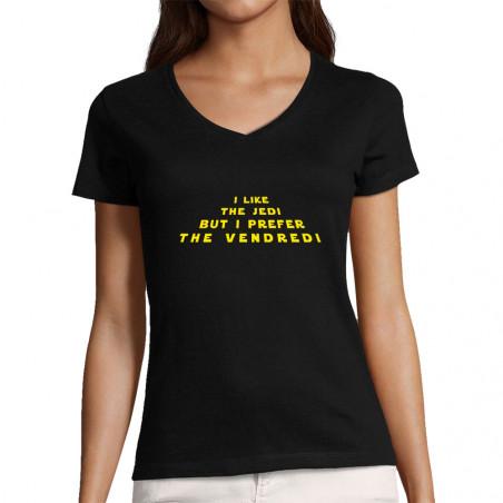 "T-shirt femme col V ""I like..."