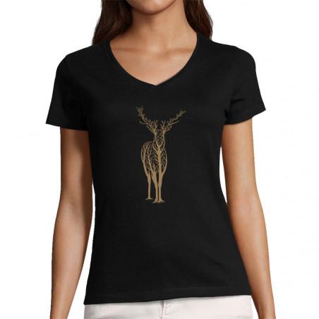 """T-shirt femme col V """"Deer..."""