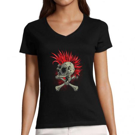 """T-shirt femme col V """"Iroskull"""""""