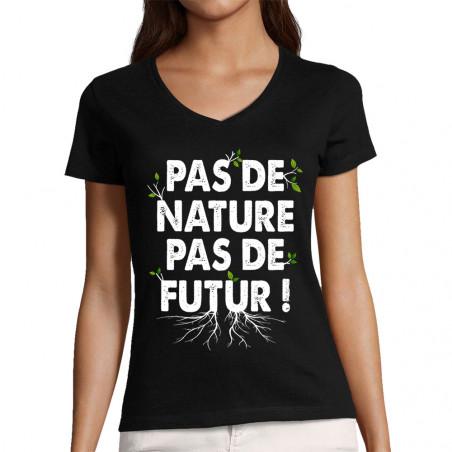 """T-shirt femme col V """"Pas de..."""