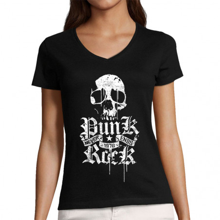 "T-shirt femme col V ""Punk..."
