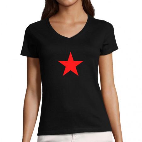 """T-shirt femme col V """"Etoile..."""