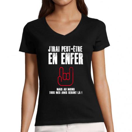 """T-shirt femme col V """"J'irai..."""