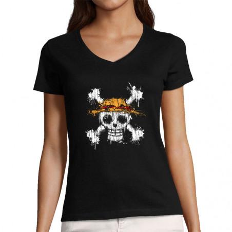 "T-shirt femme col V ""One..."