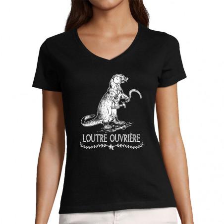"""T-shirt femme col V """"Loutre..."""