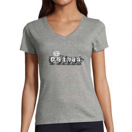 "T-shirt femme col V ""Azerty"""