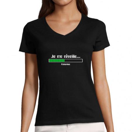 "T-shirt femme col V ""Je me..."