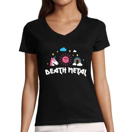 """T-shirt femme col V """"Death..."""