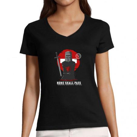 """T-shirt femme col V """"None..."""