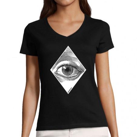 "T-shirt femme col V ""Eye"""