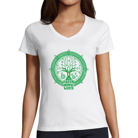 """T-shirt femme col V """"Faith..."""