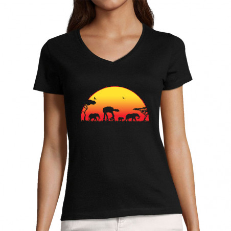 "T-shirt femme col V ""Starfari"""