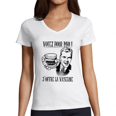 "T-shirt femme col V ""Votez..."