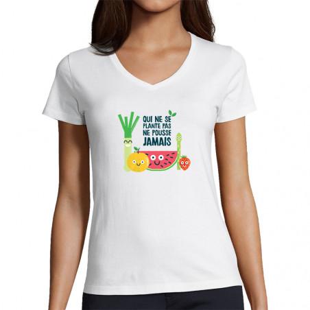 """T-shirt femme col V """"Qui ne..."""