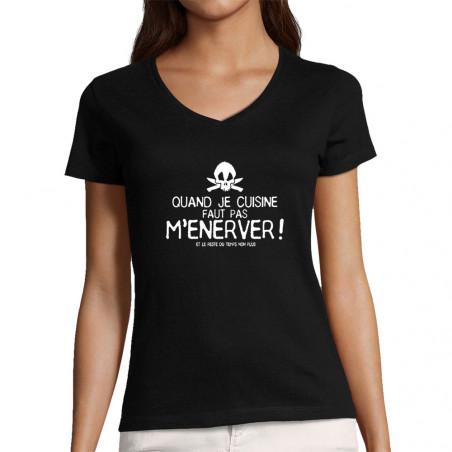 """T-shirt femme col V """"Quand..."""