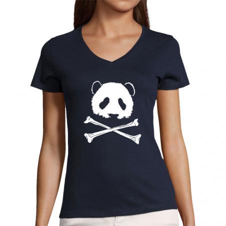 "T-shirt femme col V ""Panda..."