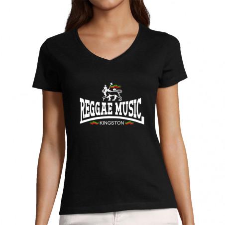 "T-shirt femme col V ""Reggae..."